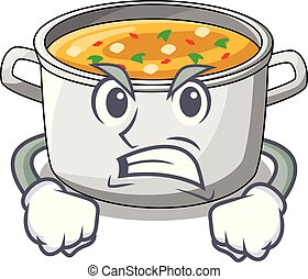 Angry cooking pot of soup isolated on mascot