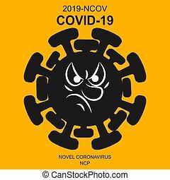 Angry Coronavirus 2019-nCoV. Corona virus icon. Black sketch isolated on Orange background. Pathogen respiratory infection. Influenza pandemic. Virion of Corona-virus.