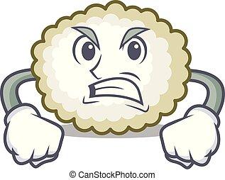Angry cotton ball mascot cartoon