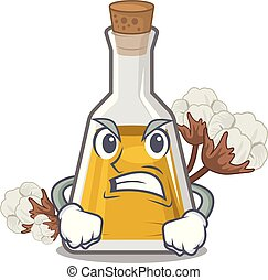 Angry cottonseed oil in the cartoon shape vector ...