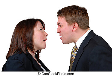 Angry Couple 2 - Man and woman in business attire arguing....