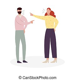Angry couple fighting - cartoon man and woman shouting at each other and pointing accusing fingers. Vector illustration isolated on white background.