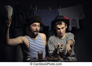 Angry couple. - Fun couple of guys killing flies, retro...