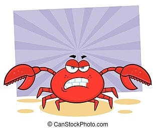 Angry Crab Cartoon Mascot Character