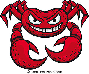 Angry red crab in cartoon style isolated on white background for mascot design