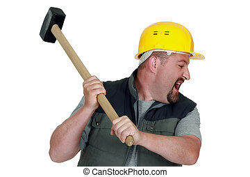 angry craftsman holding a hammer