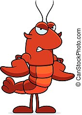 Angry Crawfish - A cartoon illustration of a crawfish...