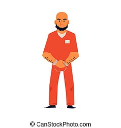 Angry criminal man in orange prison uniform and handcuffs - ...