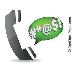 Angry- cursing on the phone concept