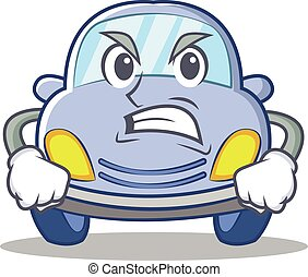 Angry cute car character cartoon