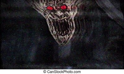Angry demon face screams. Animation in genre of horror. TV...