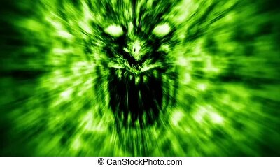 Angry demon face screams in fire. Animation in genre of...