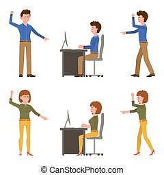 Angry, desperate, upset, sad office boy and girl vector illustration. Shouting, pointing finger, scolding, reproach, blaming male and female cartoon character set