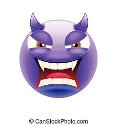 Angry Devil Emoticon with Brown and Open Mouth