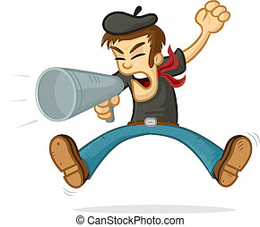Angry Director - Angry director shouting in megaphone vector...