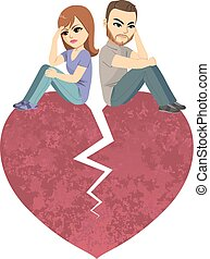 Angry Divorce Couple Heart