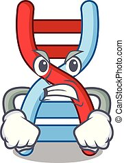 Angry dna molecule mascot cartoon