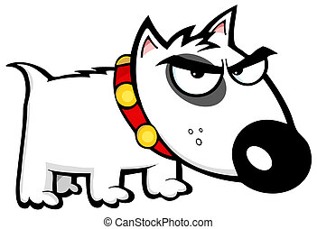 Angry Dog Bull Terrier Cartoon Character