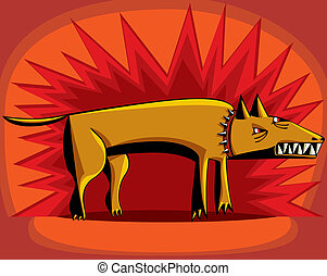 Angry dog over red flash background - Angry dog with bared ...