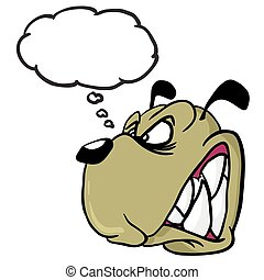 angry dog with thought bubble cartoon