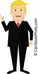 Vector illustration of angry Donald Trump standing.