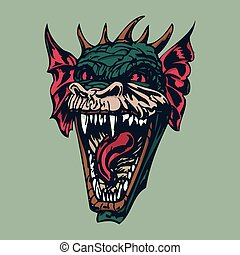 angry dragon head illustration. vector Illustration