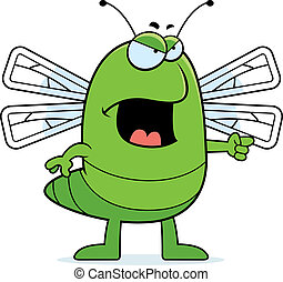 Angry Dragonfly - A cartoon dragonfly with an angry...