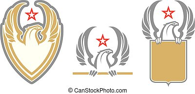 Angry eagle mascots in military style. Label. Logotype.
