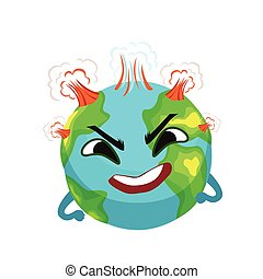 Angry Earth planet character with volcanoes erupting, cute globe with face and hands vector Illustration