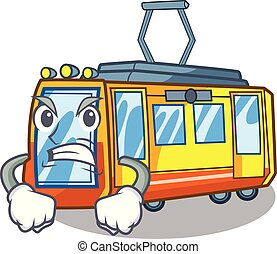 Angry electric train toys in shape mascot