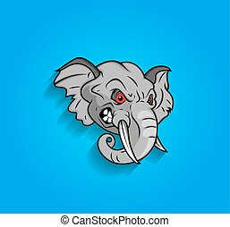 Angry Elephant Face Expression