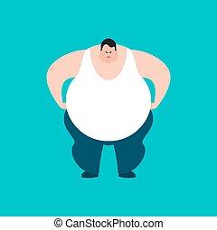 angry., emoji., grand, graisse, mal, vecteur, illustration, corpulent, type, homme, aggressive.