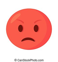 angry emoji with red face flat style icon