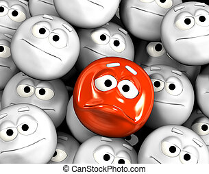 Angry emoticon face among other grey, neutral, indifferent...