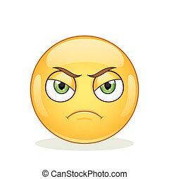 Angry emoticon on white background.