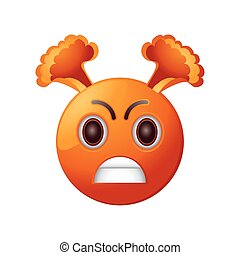 angry emoticon on white background