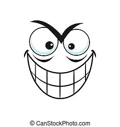 Treacherous emoticon with toothy smile isolated emoji. Vector cute comic face expression with emotion of evil and fear. Smiley demon, cheerful insidious man head, chatbot avatar, social message