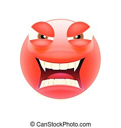 Angry Emoticon with Brown and Open Mouth