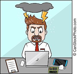 Angry employee laptop