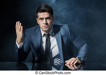 Angry employer during business conversation
