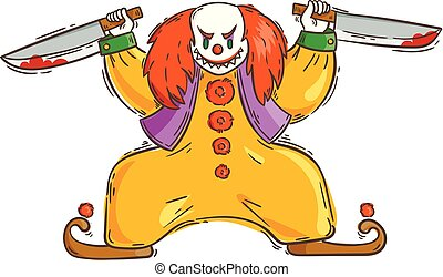 Angry evil clown with a bloody knifes.