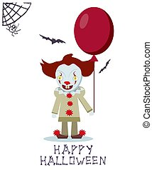 Angry evil clown with red balloon. Vector Halloween card.