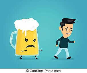 Angry evil glass of beer chasing a man.