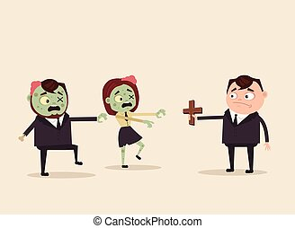 Angry evil hungry zombie office workers attack. Apocalypse concept. Vector flat cartoon illustration