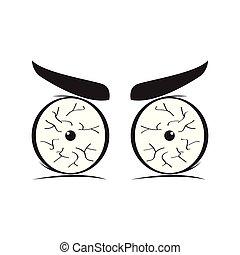 Angry eyes cartoon