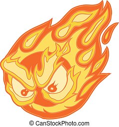 Angry Eyes Fireball Vector Clip Art Cartoon