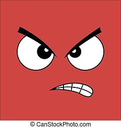 Angry face. Cartoon style