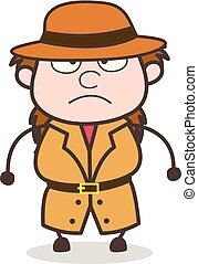 Angry Face - Female Explorer Scientist Cartoon Vector