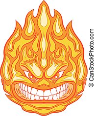 Angry Face Fireball Vector Clip Art