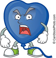 angry face of blue love balloon cartoon character style